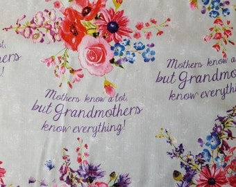 Mothers Know Alot Cotton Fabric Sold by the Yard