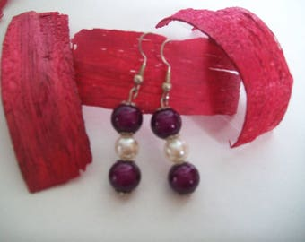 Purple and white earring