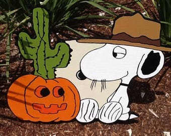 Peanuts Yard Art featuring Spike with his Pumkin Cactus for Halloween