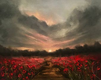 """Poppy Painting, Landscape Oil Painting, Red Poppy Wall Art, Sunset Painting, Original Palette Knife Oil Painting, """"GOING HOME"""""""