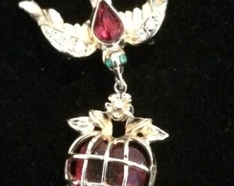 Vintage Coro Heart and Bird Brooch