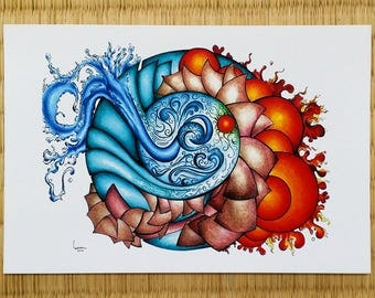 Postcard 4 elements, abstract drawing