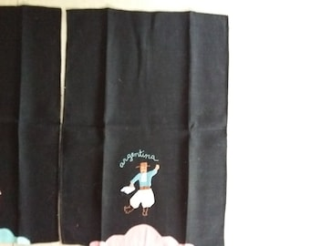 Vintage Argentina Tea Towels Appliqued Man and Woman Dancers