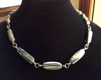 "Green Jaspelite Choker 20"" Necklace with Sea Weed Quartz Beads"