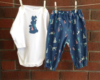Bunny clothes baby, size 3 6 12 18 months, boy baby clothes, blue outfit, Cotton and Steel fabric, baby shower boy, woodland baby clothes