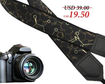 Chemistry  camera strap. DSLR Camera Strap. Black and gold camera accessory. Photo accessories by InTePro