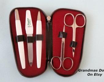 Vintage Manicure Set In Black Genuine Leather Case, Small Travel Set, High Quality Elegant kit Niegeloh Solingen Germany, Accessories