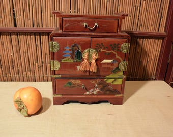 Vintage Japanese  Antique Red  Lacquer Jewelry Box / Chest 4 Drawers Mother Of Pearl Inlaid
