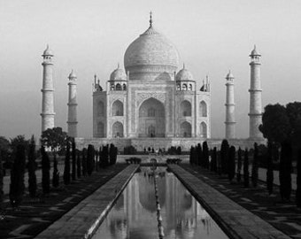 Romantic India, Cityscape Of The Taj Mahal India. Black & White Photography Picture, B And W Art Prints Framed / Unframed