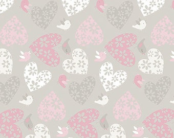 Sweetheart, Love Birds in Posie Gray and Pink cotton fabric