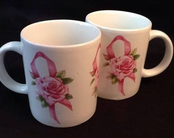 Vintage 2 Avon Mugs <> Breast Cancer Awareness Mugs <> Pink Ribbon Design <> Collectible Mugs <> 1970's <> MINT CONDITION