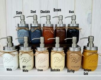 Pint mason jar soap dispenser. Mason Jar Bathroom Set. Rust Proof.