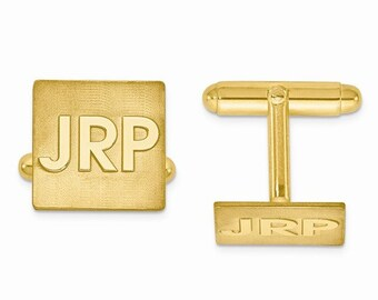 14K Gold or Sterling Silver Square Cufflinks Custom Made Personalized Monogram Groomsmen Best Man Father Bride Anniversary Gift CKLXNA612