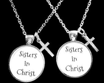 Best Friend Gift, Best Friend Necklace, Sisters In Christ Necklace, Cross Necklace, Best Friend, BFF, Necklace Set