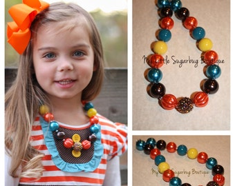 Thanksgiving Friends Chunky Necklace-M2M Zoe Addelyn-Bubblegum Necklace-Baby-Toddler-Girls-Women