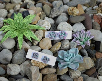 Succulent Earrings Polymer Clay Handmade Mother's Day Gift Ideas Jewelry