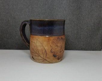 IN STOCK** Ceramic Mug, Pottery Coffee Mugs, Handmade Mug, Stoneware Tea Mug - Purple Rain - Leafs