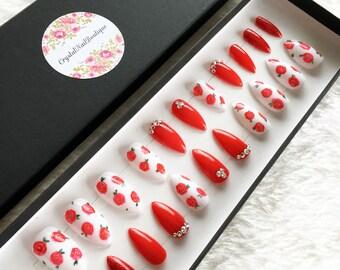 Red rose press on nails swarvoski crystal  false nails, fake nails, nail art