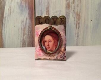 Beautiful Virgin Mary shrine mixed media and collage - shelf shrine - Catholic art - religious art - Virgin Mary art shrine - catholic decor