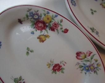 Vintage 1953 Shenango Oval Diner Plate Restaurant Mid Century 1950's Dish Soap Shabby Chic Cottage Decor Floral Blue Flower Rose Set of 3