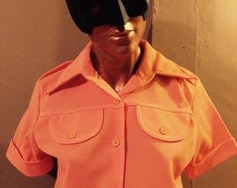 Vintage 1970s Orange Ladies Leisure Suit!