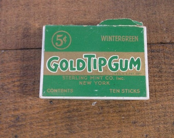 Vintage 1930s Chewing Gum Box, held Gum Shaped Like Cigarettes by Sterling Mint Co New York, Gum was 5 cents