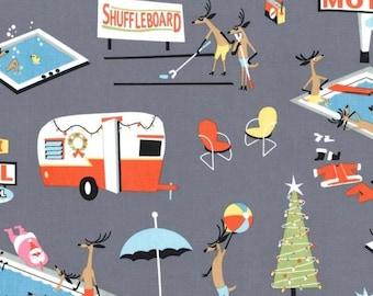 "Retro Christmas RV, Travel Trailer, Camper Fabric, Michael Miller CX 6310 Gray, Holiday Break Glamping Santa, Reindeer, Cotton, 32"" piece"