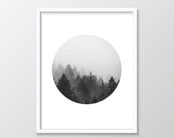 Forest Print, Forest Printable Wall Art, Black and White Minimal Forest Fog Circle Photo, Circular Photo Wall Art