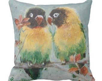 """16"""" x 16"""" Masked Lovebirds Pillow"""