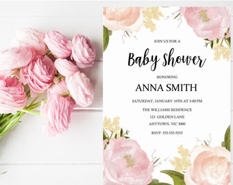 Printable Baby Shower Invitation in pink floral design. Bridal Shower/ Wedding / Engagement / Birthday.  Available in matching soy candle