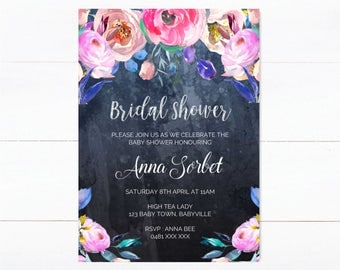 Printable Bridal Shower Invitation in navy floral design. Baby Shower/ Wedding / Engagement / Birthday.