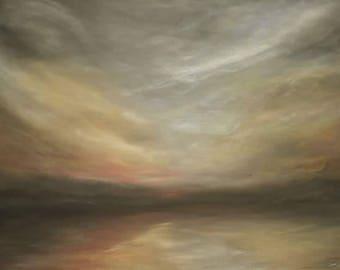 Lake Reflections - Beautiful print of romantic prize winning painting of light and movement *turner style