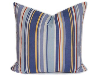 Blue pillow cover, Blue throw pillow, Decorative pillow for couch, Stripe pillow, Accent pillow, Sofa cushion, Couch cushion, 18x18, 20x20