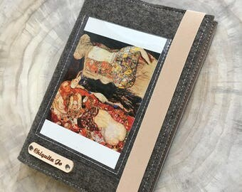 Calendar cover with post card cover wool felt & leather