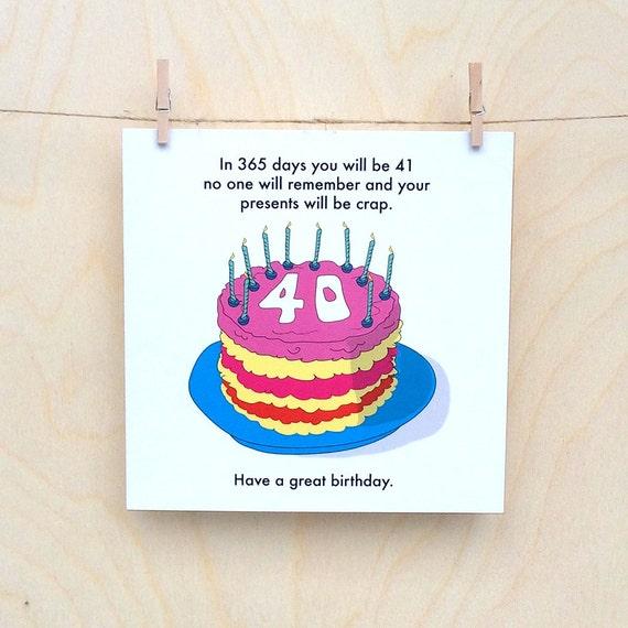 Funny 40th Birthday Card Funny 40th Funny Birthday Card 40