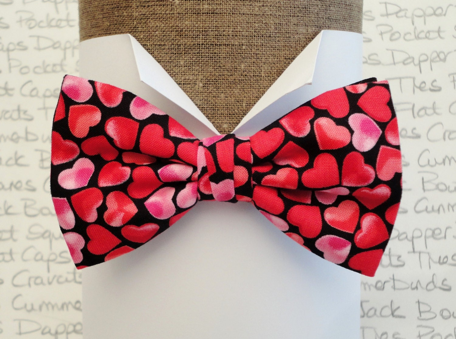 Bow tie bow ties for men Valentines bow tie heart print bow