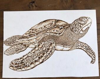 Turtle pyrography on paper - Vintage Illustration - Paper Pyrography - Unique - burning art - Ocean art - Pyrografie kunst