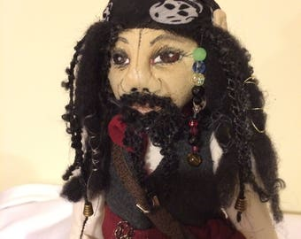 Hand made pirate cloth doll, what the elf cloth doll, gift for him or her,collectable doll,male pirate with beard and dreadlocks,beads,OOAK