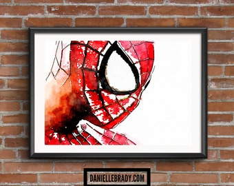 Spiderman Spider-man Digital Art Watercolour Printable Art Downloadable Print