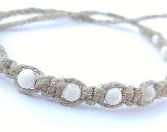 White Magnesite Hemp Bracelet Handmade, Tie On Ankle Bracelet, Hemp Jewelry, Handmade Hemp Bracelet, Hemp Bracelets.