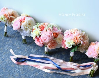 Full Set Tailor Made Order- Bridal/ Bridesmaid Bouquet, Groom/Groomsmen/Father of Bride/ Ring Bearer Boutonniere, Mother Corsages