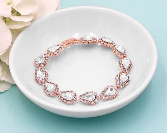 Rose Gold Bridal bracelet, wedding bracelet, pear rhinestone crystal bracelet, crystal bridal jewelry, rose gold bracelet 510704753