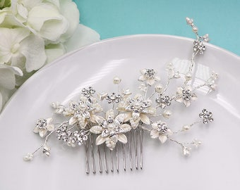 Ivory Bridal Comb, Bridal Comb Headpiece, Crystal Bridal Comb, Flower Rhinestone Wedding Comb, Wedding Hair Piece Bridal Comb 209167938