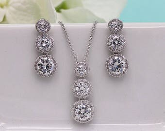 Wedding Jewelry Sets, Jewelry Sets for Brides, Round Wedding earrings, cubic zirconia jewelry set, Round Halo CZ Earrings 529068655
