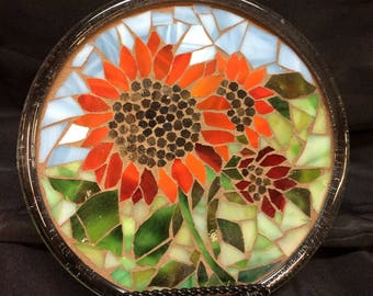 """8"""" Stained Glass Mosaic Display Plate--Red Sunflowers"""