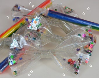 Mega GLITTER STAR filled shaker decora hair BOW