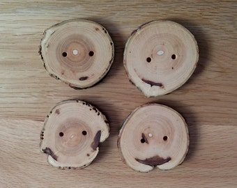 4 Handmade Wonky Wooden Buttons 50mm-Sewing Knitting Craft-Tree Branch Buttons UK seller