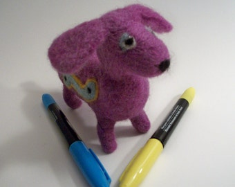 Felted Dachshund, FeltWithAHeart, Handmade Dog, Colorful Dog Figure
