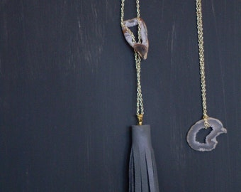Leather Tassel and Geode Necklace
