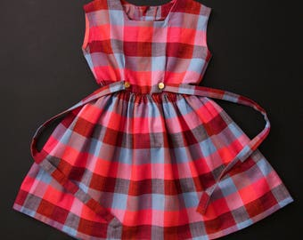 Vintage early 60's sleeveless chequered pink coral blue plaid summer dress age 9